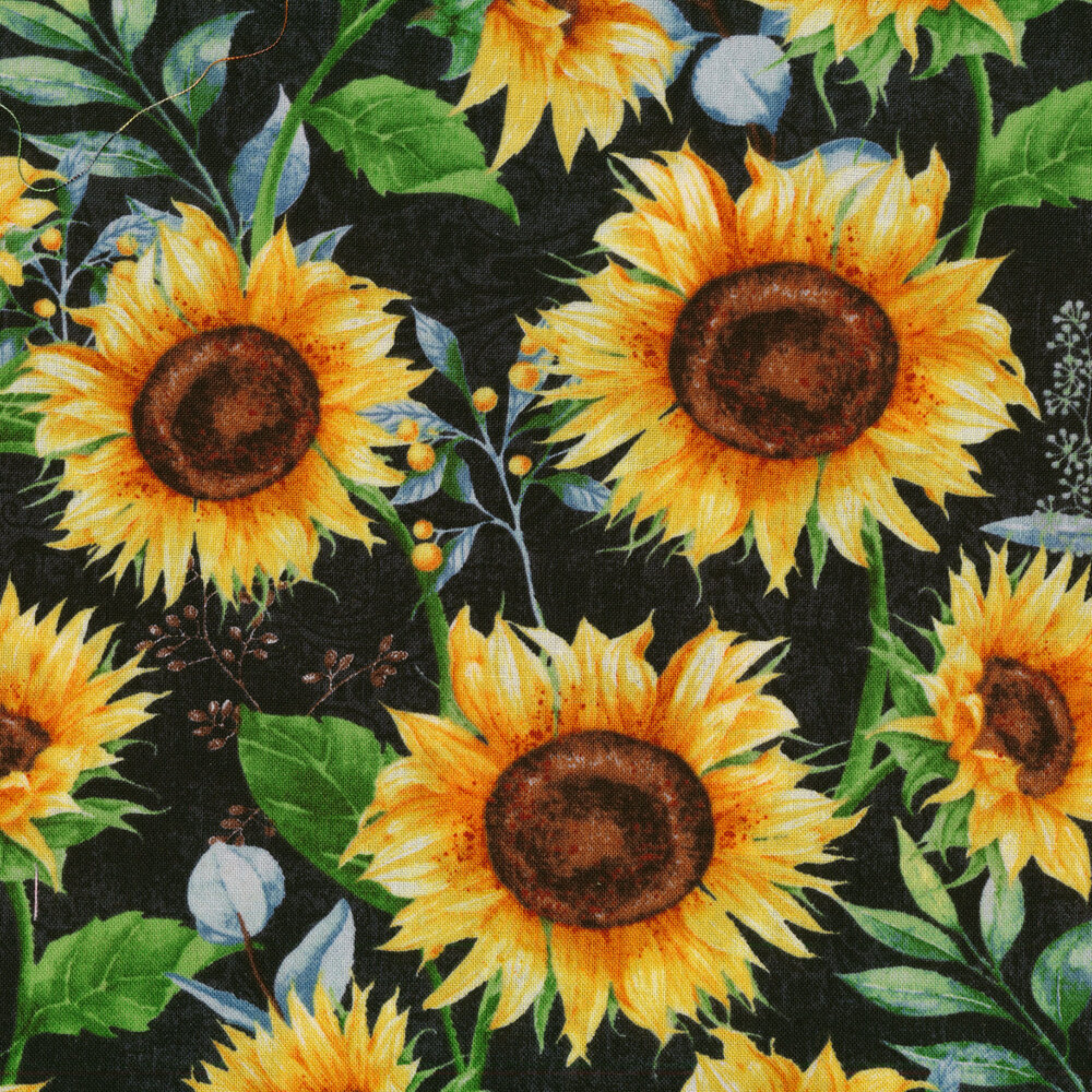 Large sunflowers all over a black background   Shabby Fabrics
