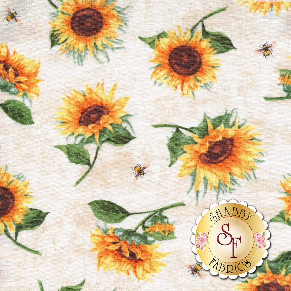 Tossed sunflowers and bumble bees all over a cream background | Shabby Fabrics