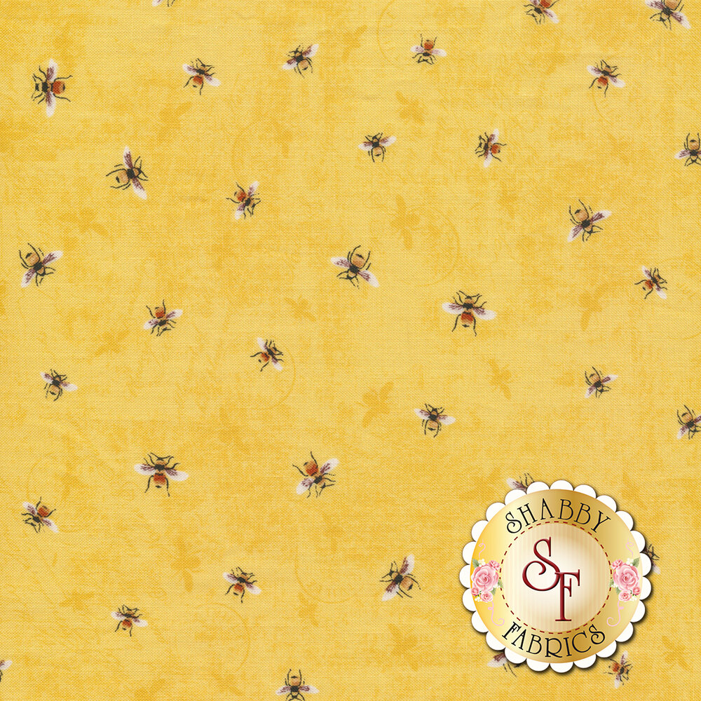 Tossed bumble bees on a mottled yellow background | Shabby Fabrics
