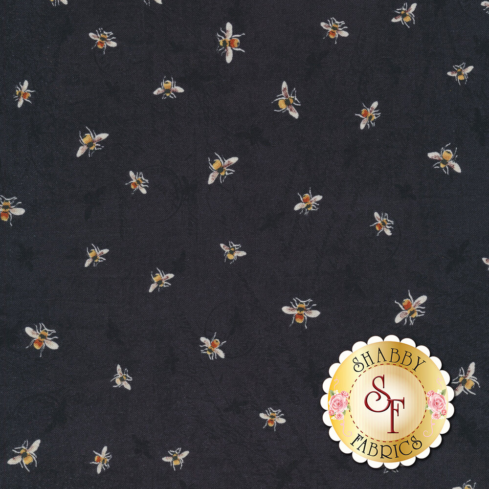 Tossed bumble bees on a mottled black background | Shabby Fabrics