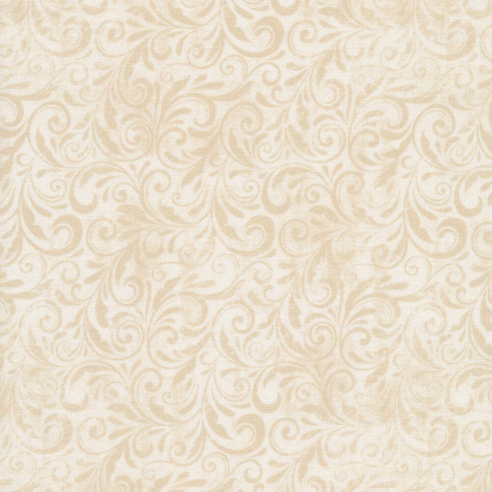 Tonal cream on cream scrolls all over | Shabby Fabrics