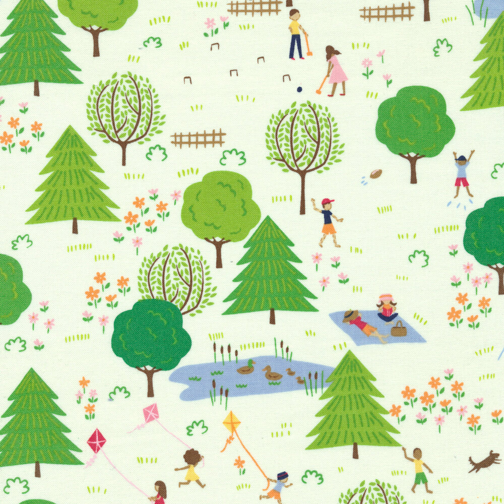 Playful children and families enjoying spring on a white background | Shabby Fabrics