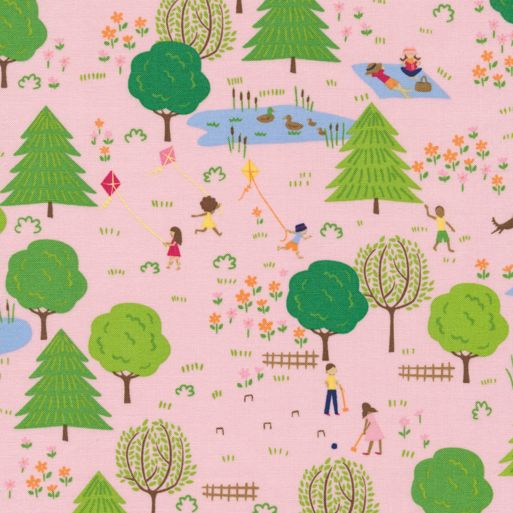 Playful children and families enjoying spring on a pink background | Shabby Fabrics