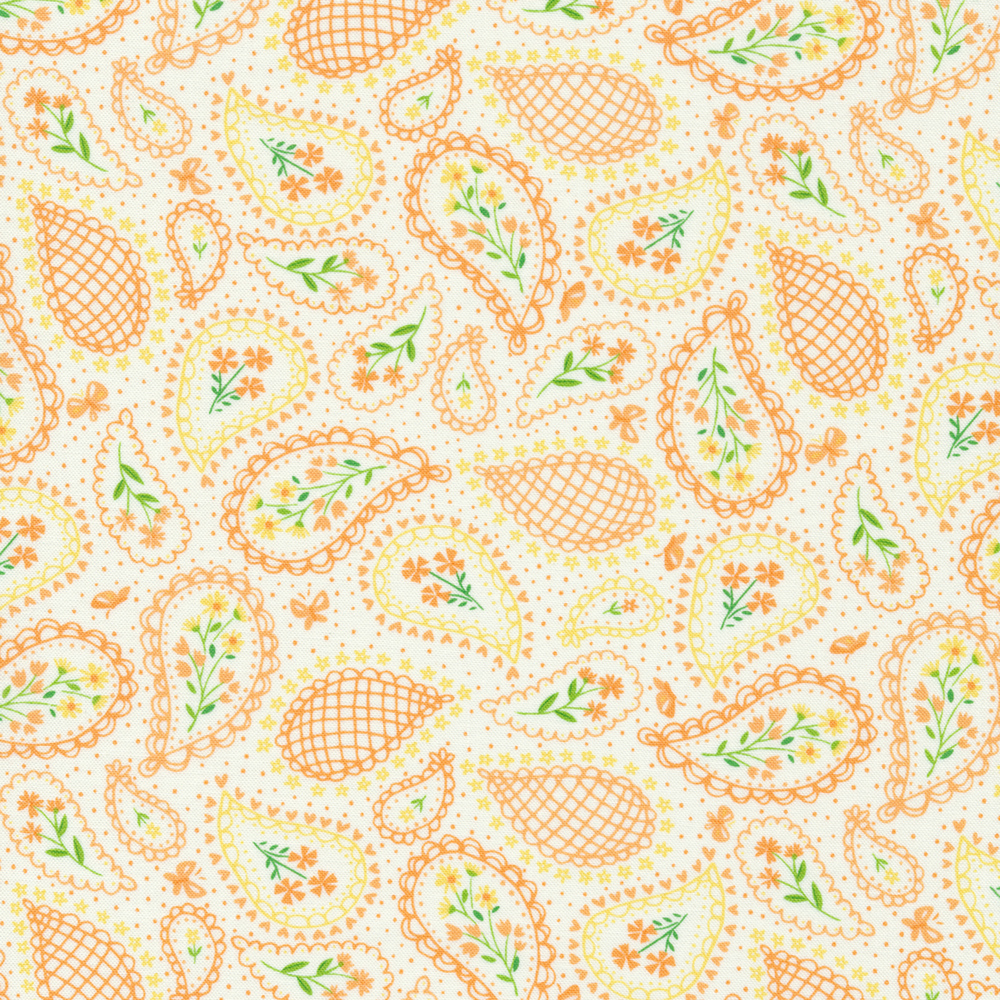 Tossed spring paisleys on a white background | Shabby Fabrics