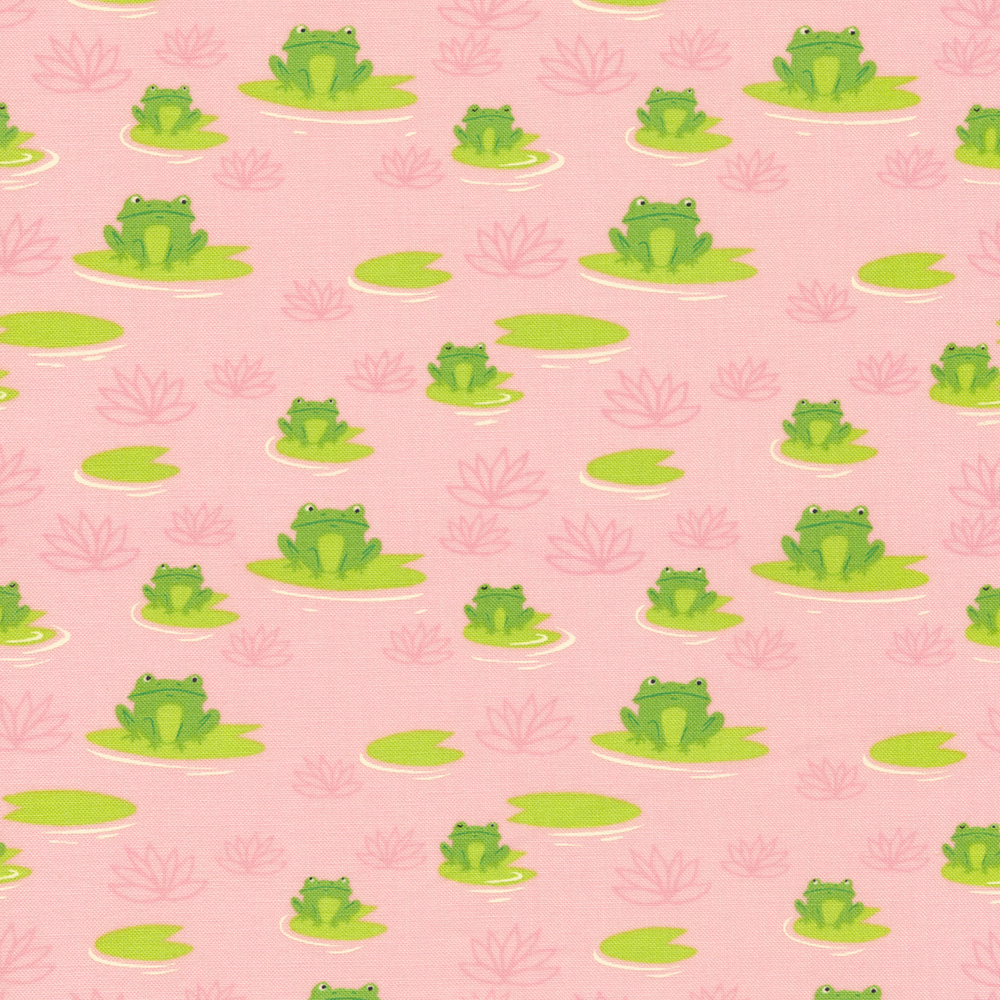 Cute frogs sitting on lillypads on a pink background | Shabby Fabrics