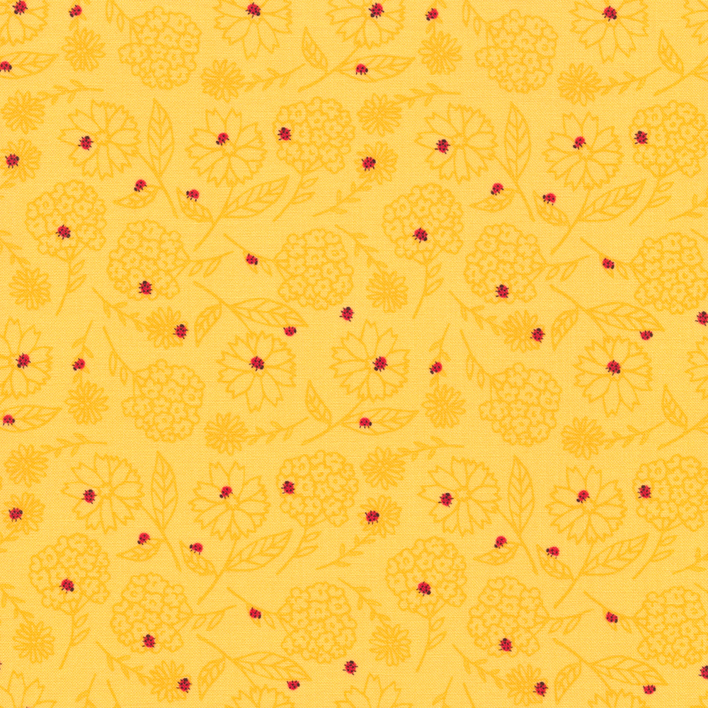 Tossed yellow tonal flowers with small red ladybugs all over | Shabby Fabrics