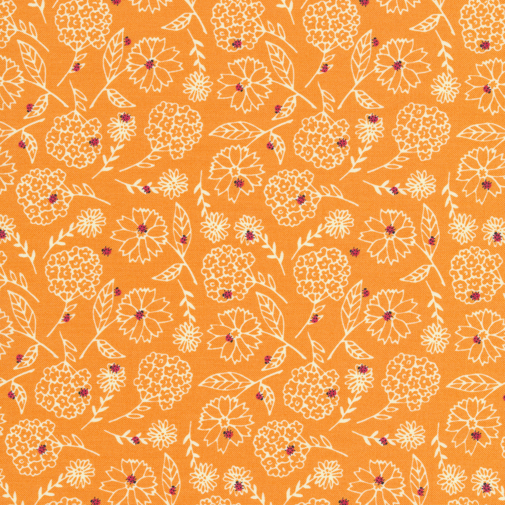 Tossed white flowers with small red ladybugs on a peach background | Shabby Fabrics