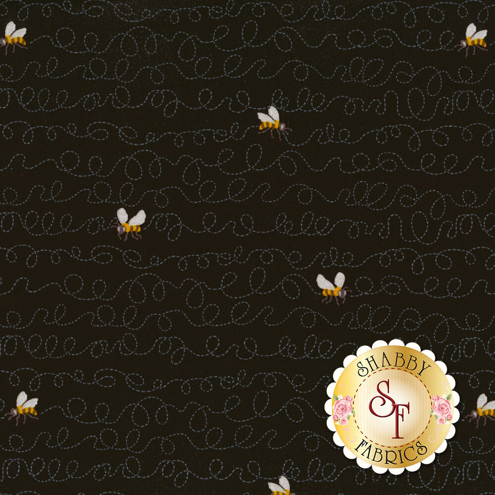 Bees flying on black with squiggle lines | Shabby Fabrics