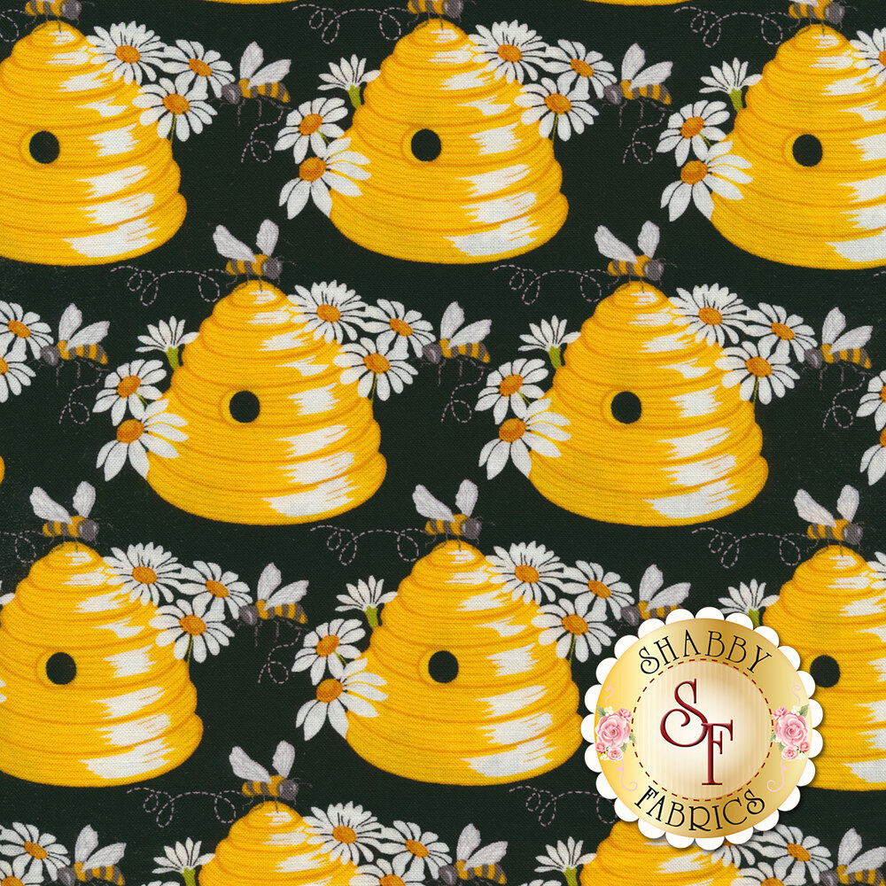 Bees on beehives with daisies on black | Shabby Fabrics