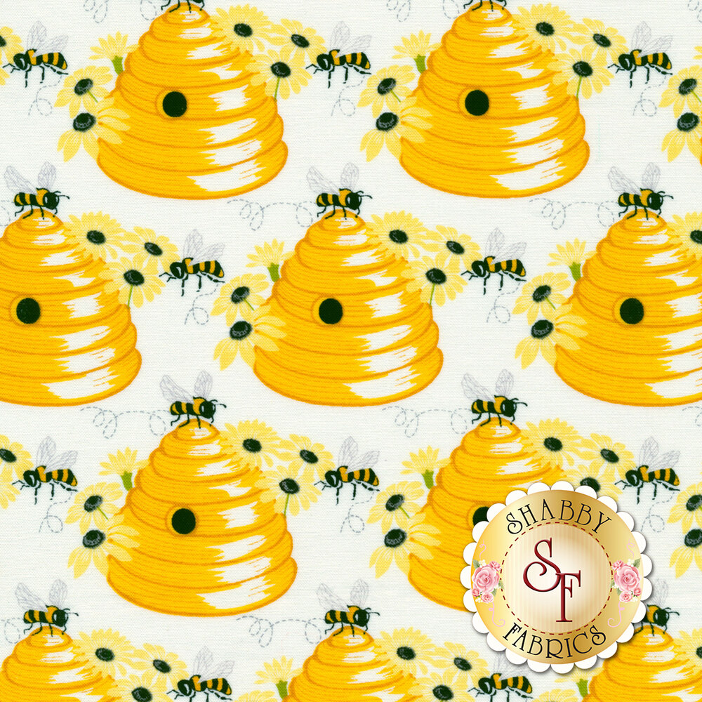 Bees on beehives with daisies on white | Shabby Fabrics