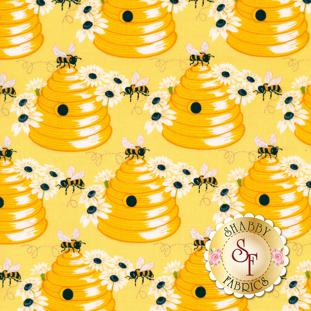 Bees on beehives with daisies on yellow | Shabby Fabrics