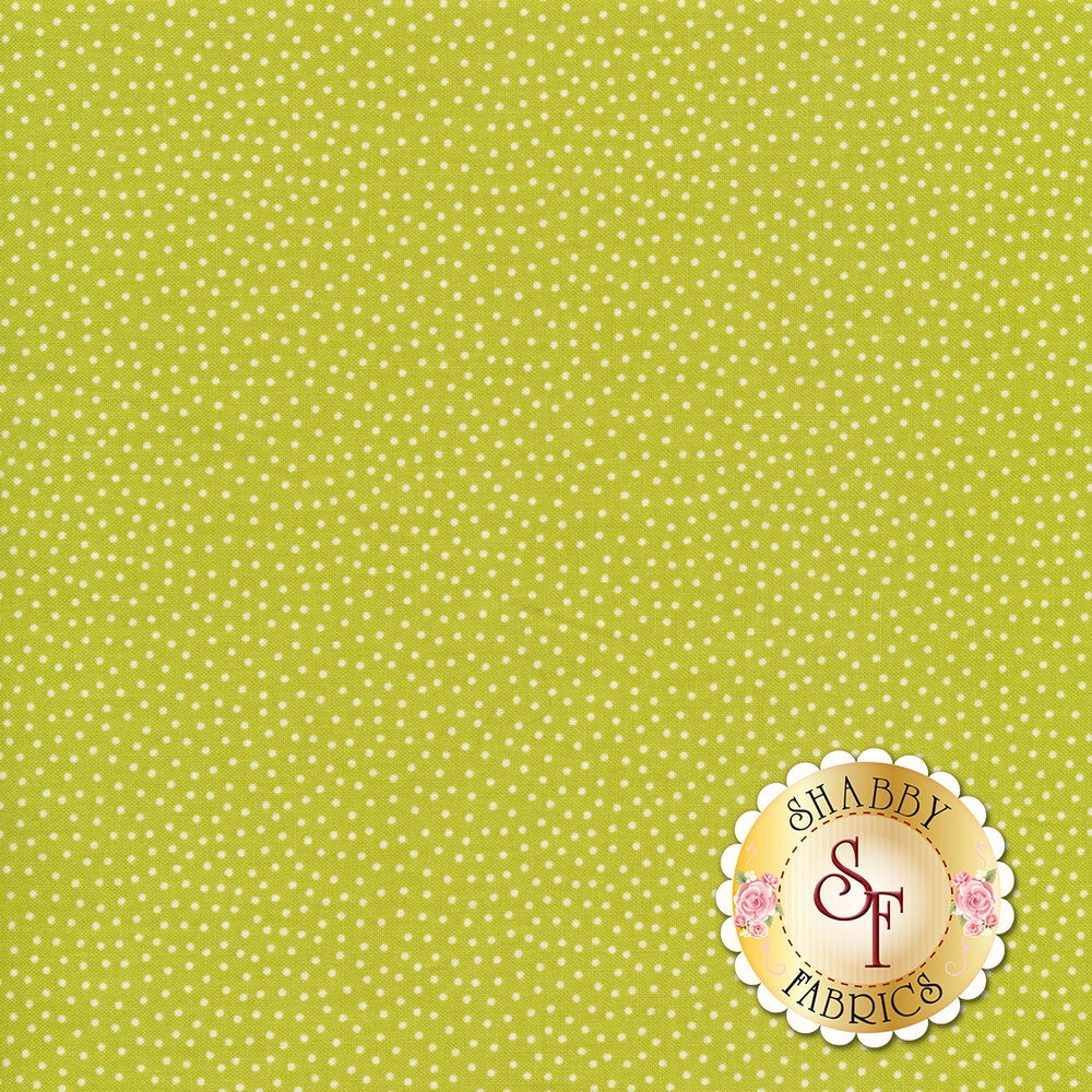 Small white dots scattered on green | Shabby Fabrics