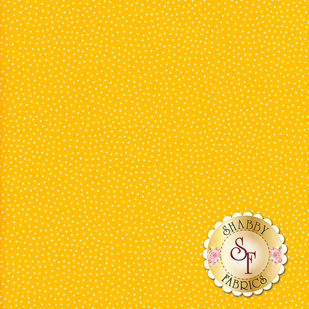 Small white dots scattered on yellow | Shabby Fabrics