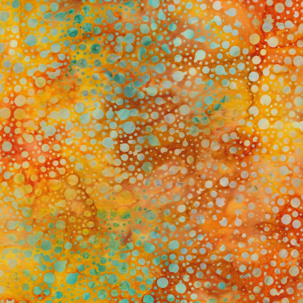Mottled blue dots on a mottled orange background