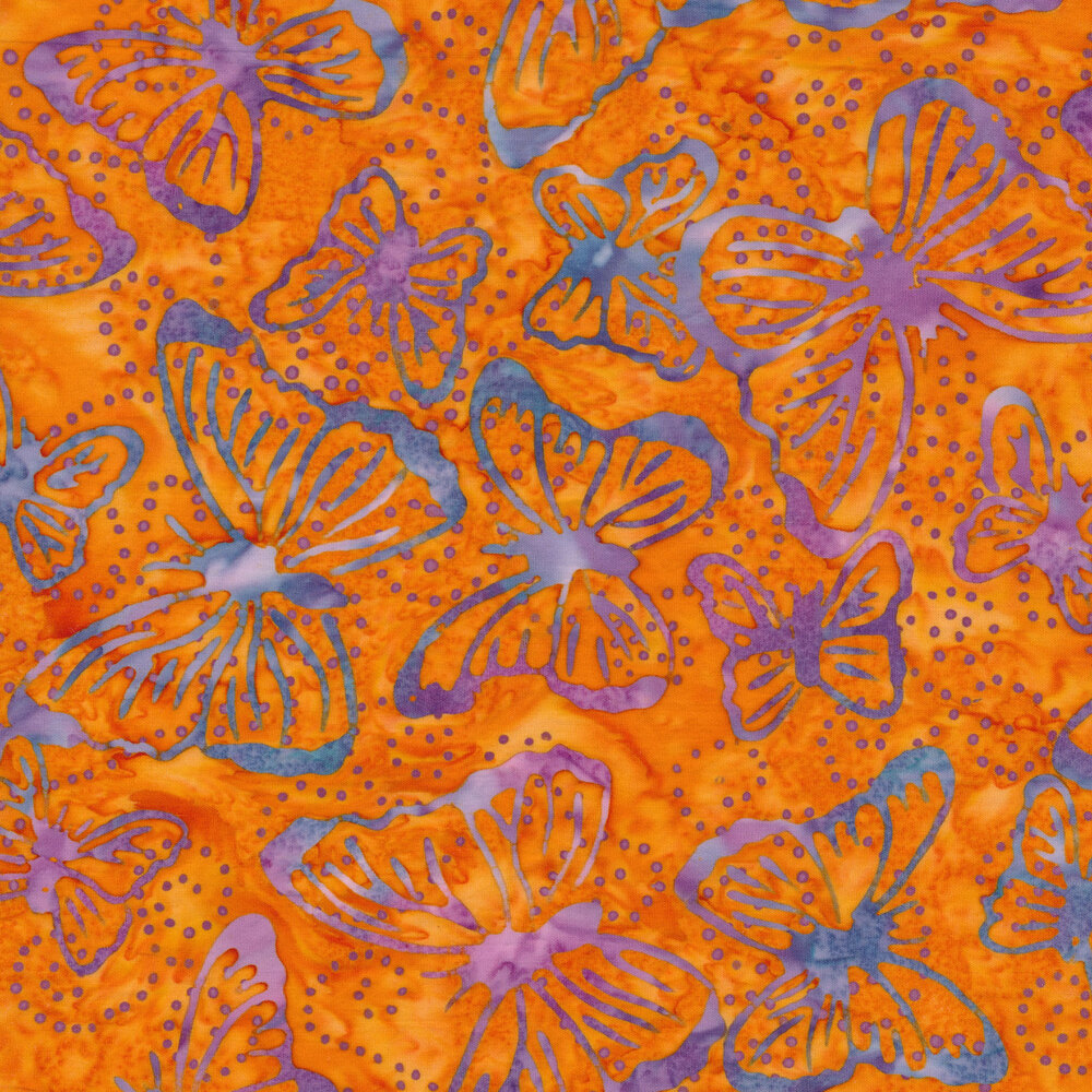 Mottled purple and blue butterfly outlines on a mottled orange background