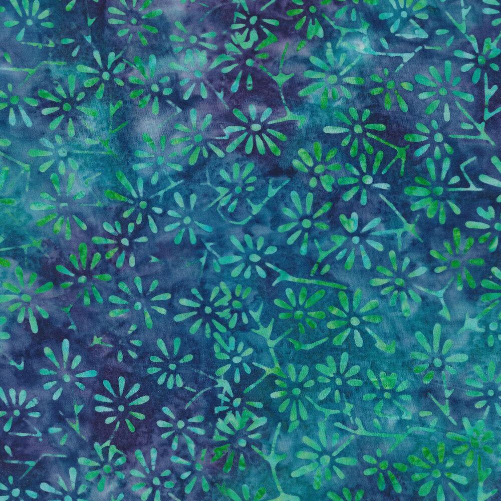 Mottled aqua flowers on a mottled blue background