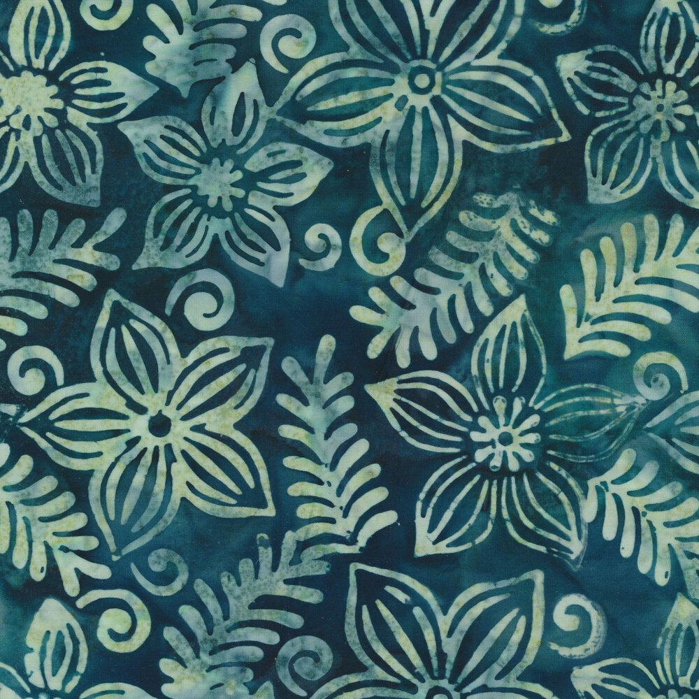 Mottled green flowers on a mottled blue background