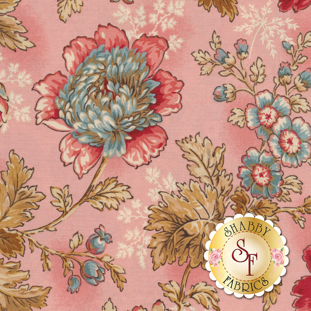Tossed flowers and leaves on a pink background | Shabby Fabrics