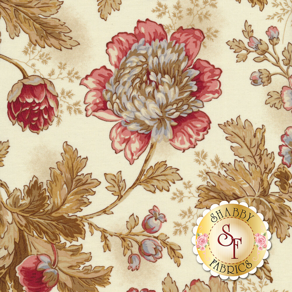 Tossed flowers and leaves on a cream background | Shabby Fabrics
