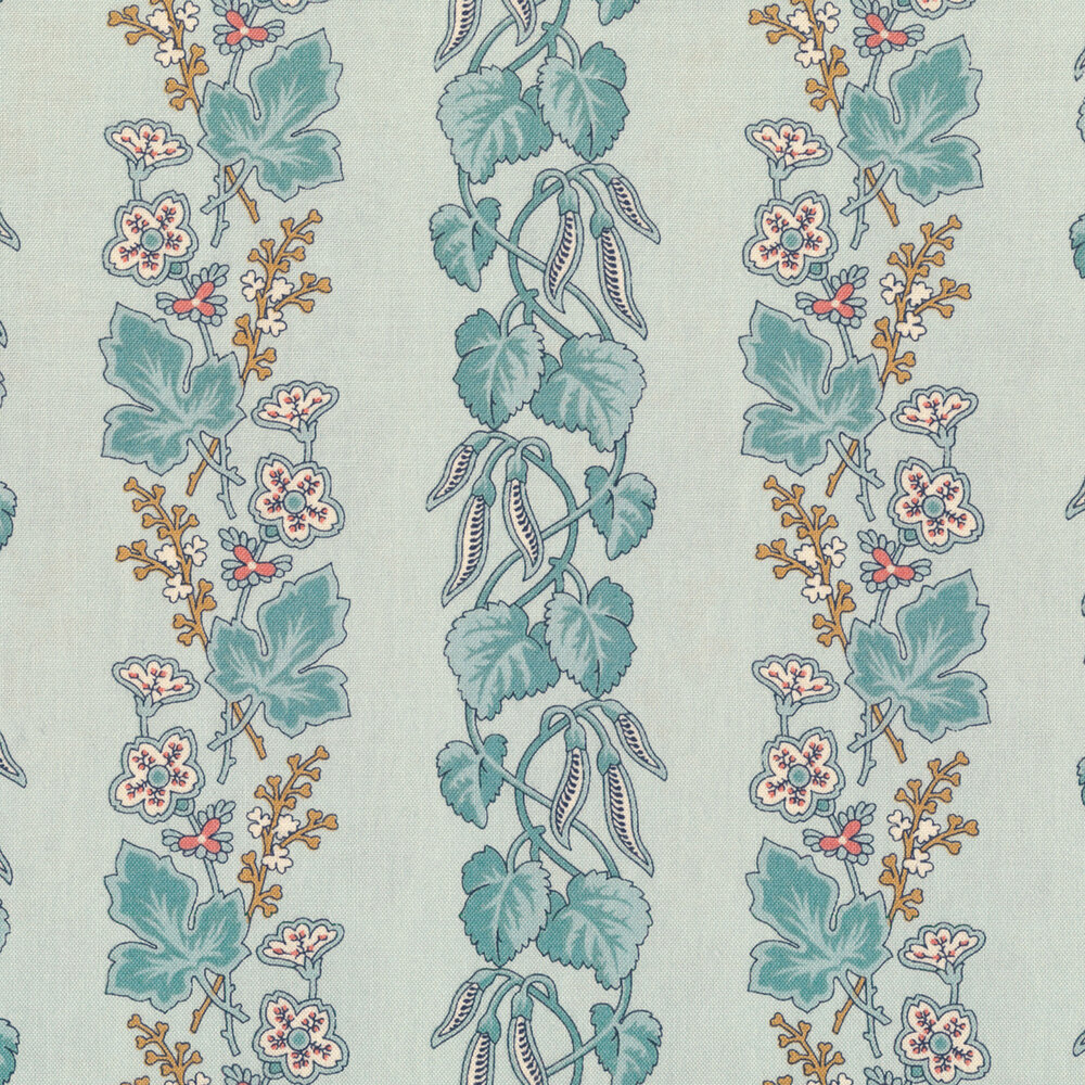 Striped leaves and vines with small flowers on a blue background | Shabby Fabrics