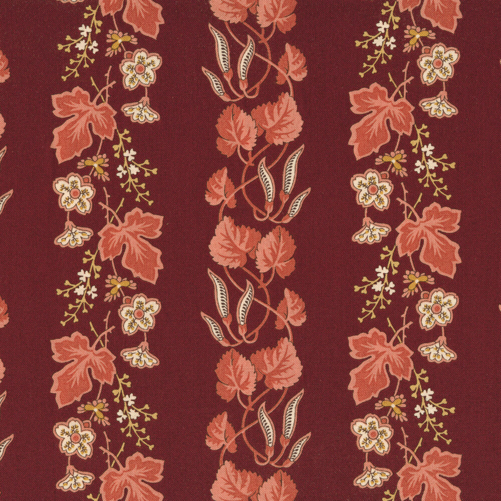 Striped leaves and vines with small flowers on a red background | Shabby Fabrics