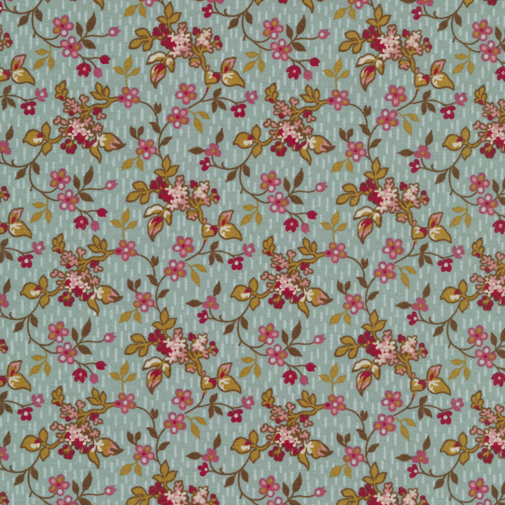 Leaves and vines with small budding flowers on a teal background | Shabby Fabrics