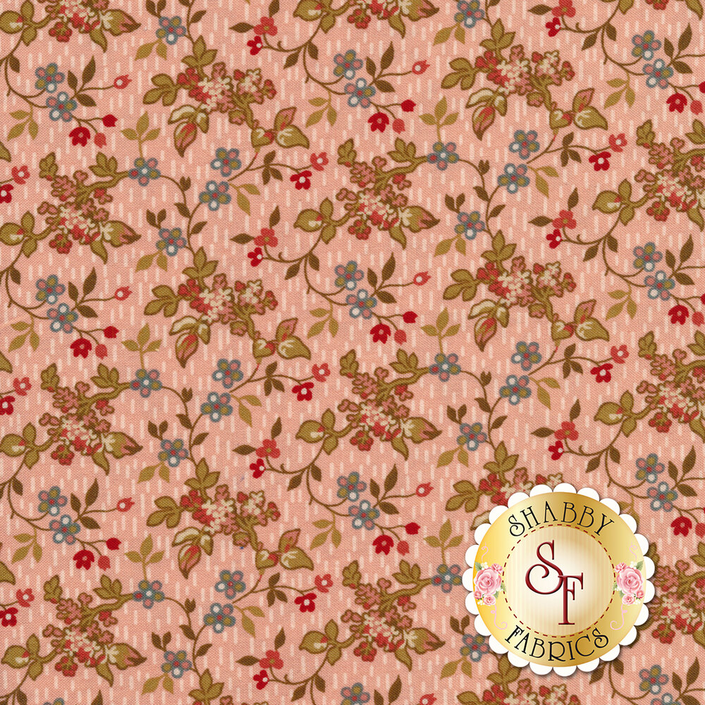 Leaves and vines with small budding flowers on a pink background | Shabby Fabrics