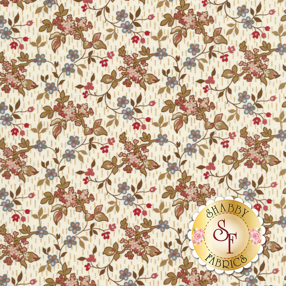 Leaves and vines with small budding flowers on a cream background | Shabby Fabrics