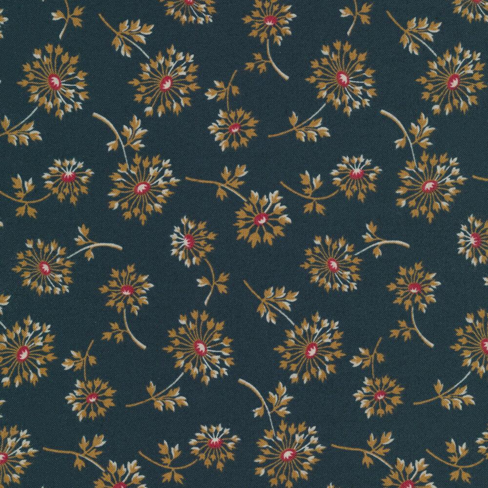 Tossed dandelions on a dark blue background | Shabby Fabrics