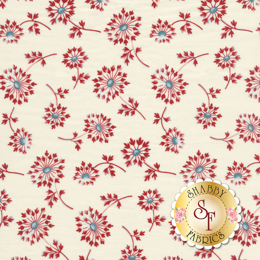 Tossed red dandelions on a cream background | Shabby Fabrics