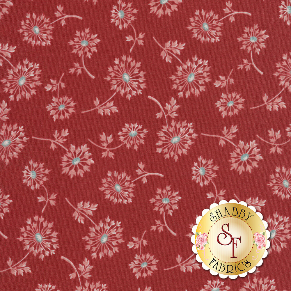 Tossed dandelions on a red background   Shabby Fabrics