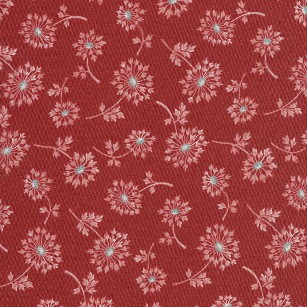Tossed dandelions on a red background | Shabby Fabrics