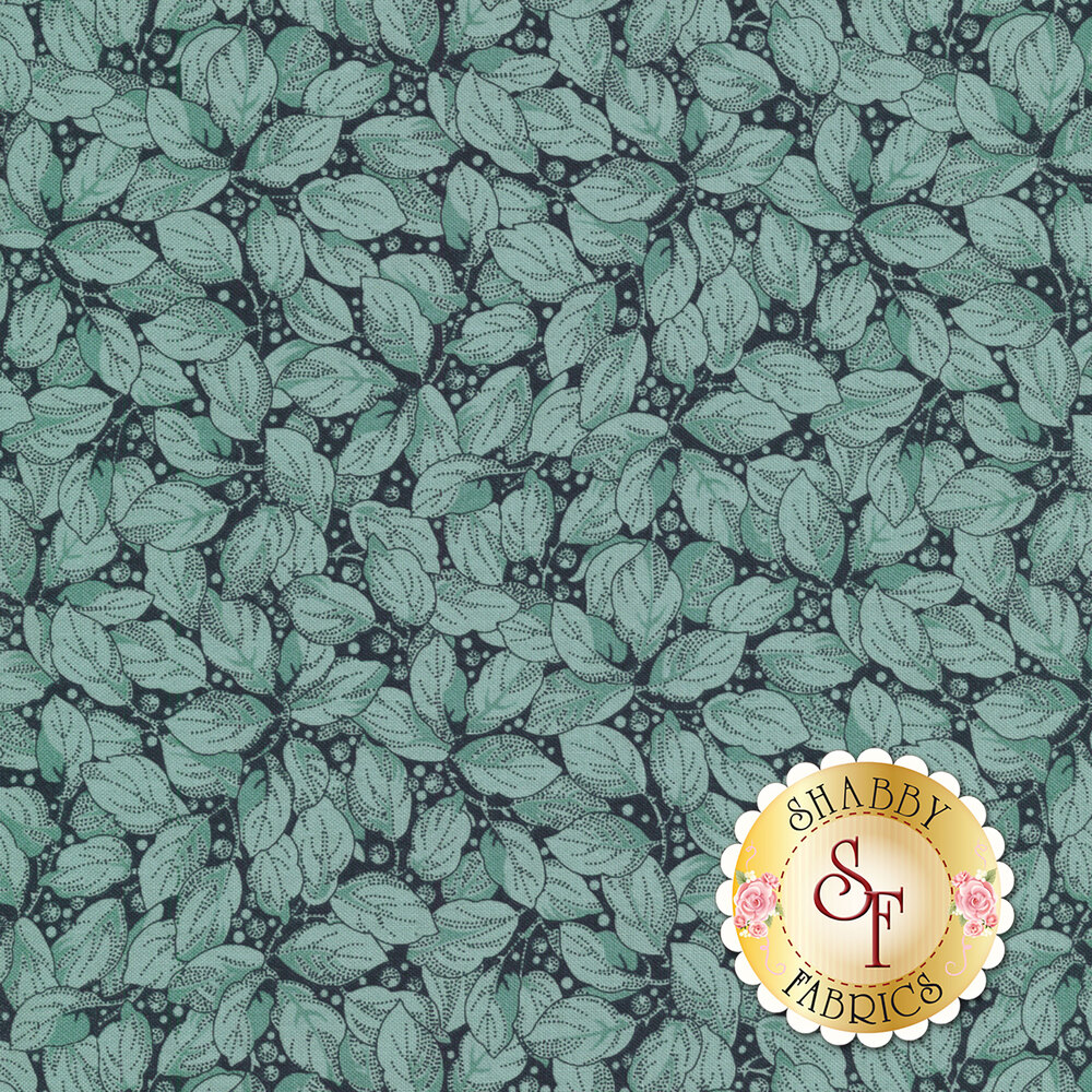 Tonal blue leaves and berries all over a dark blue background   Shabby Fabrics