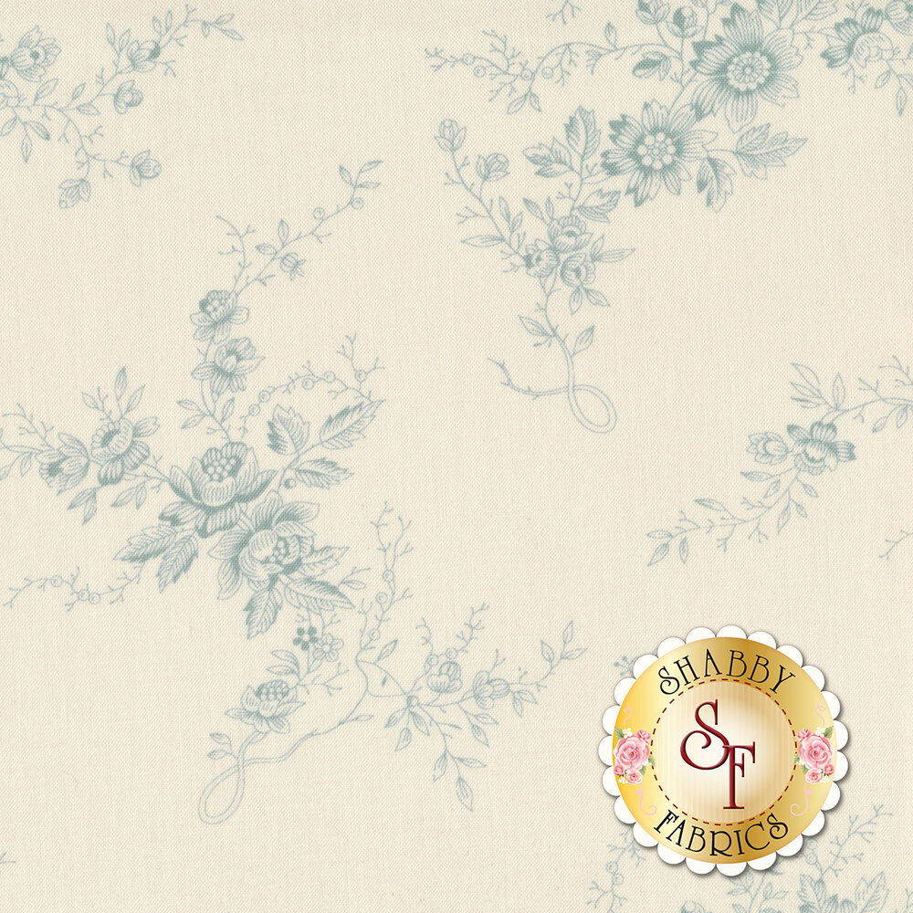 Toile blue flowers and vines on a cream background | Shabby Fabrics