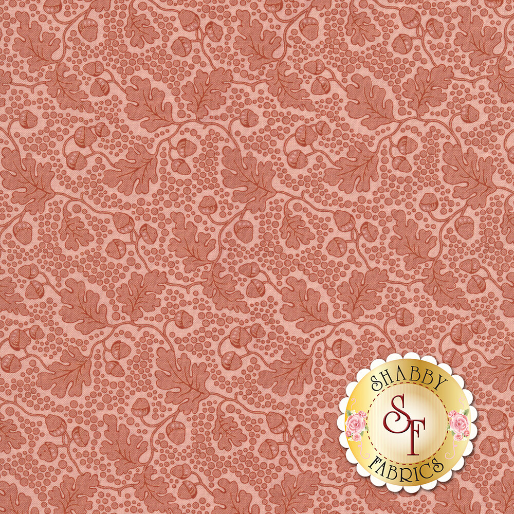 Tonal pink leaves and vines with small circles all over | Shabby Fabrics