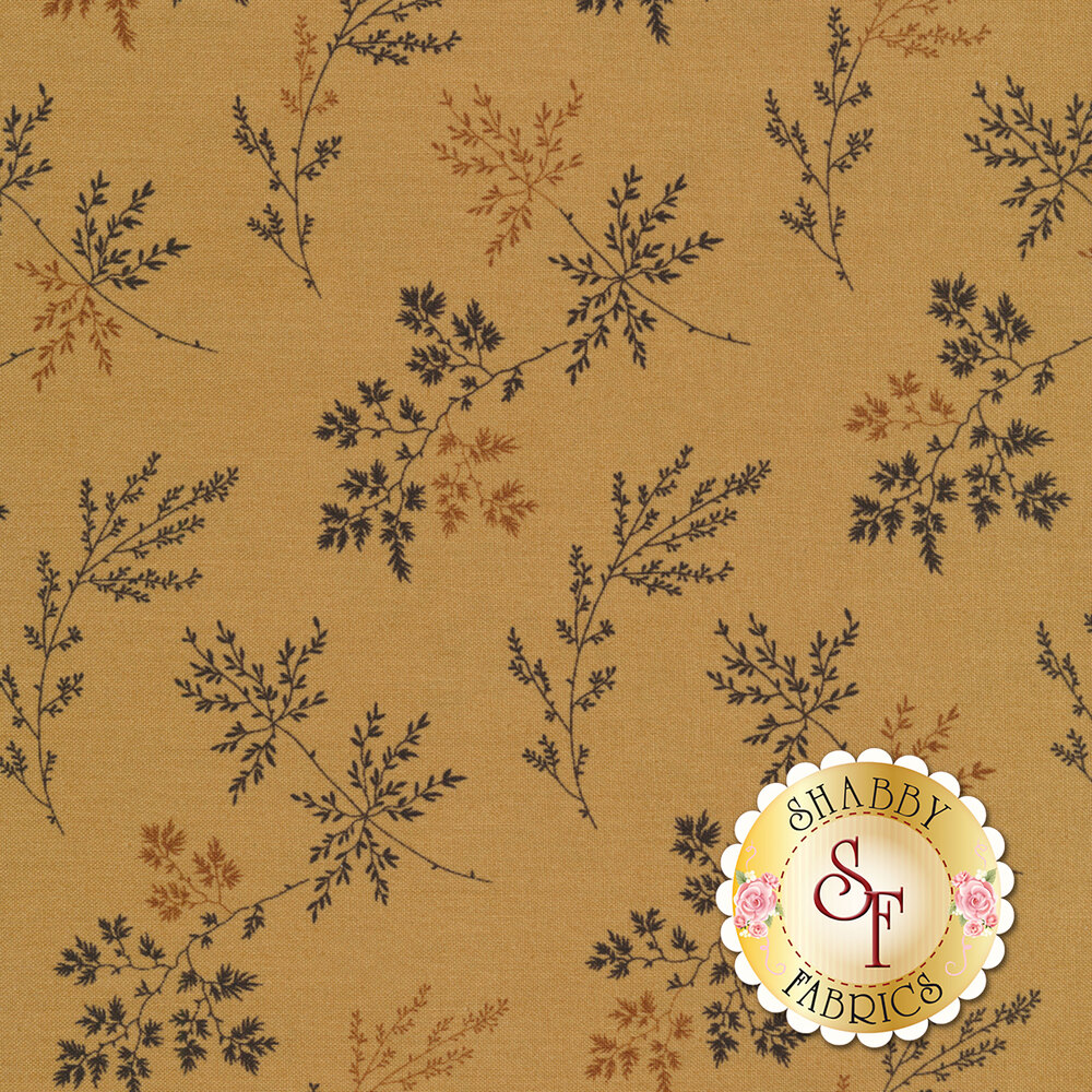 Tossed sprigs and leaves on a dark tan background | Shabby Fabrics