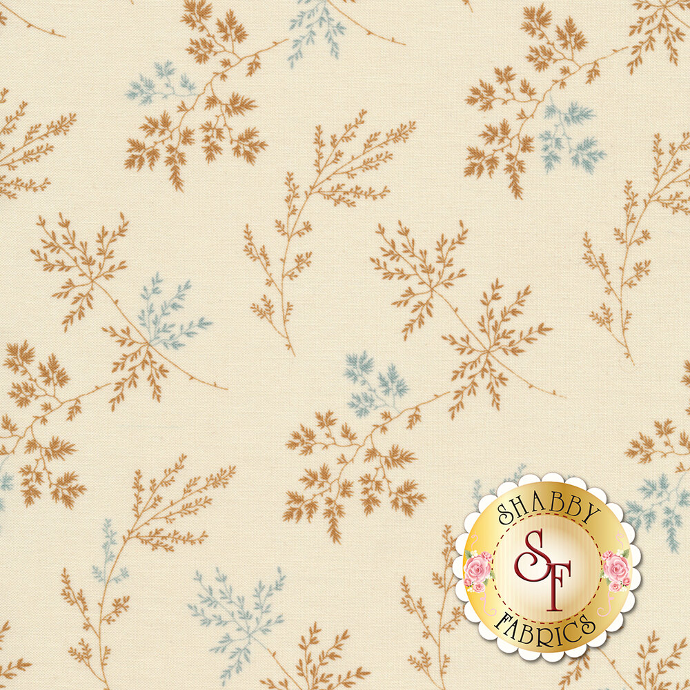 Tossed sprigs and leaves on a light tan background | Shabby Fabrics