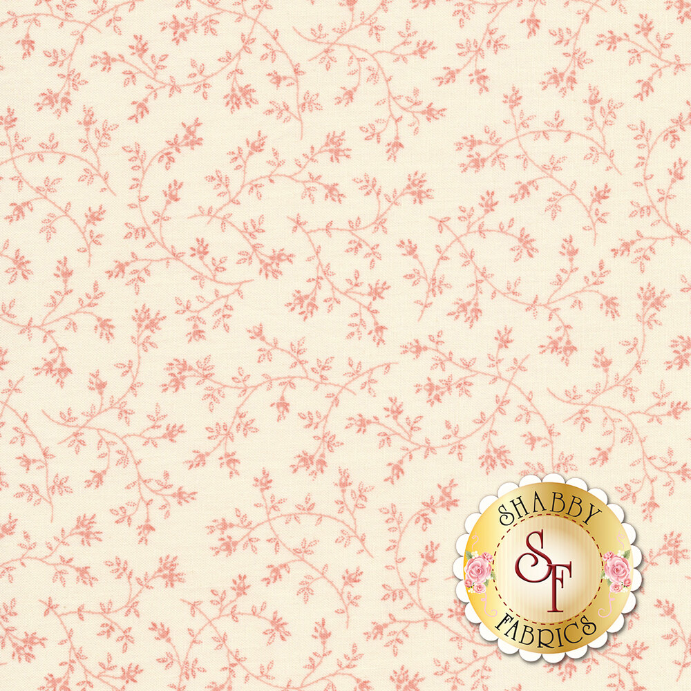 Small pink leaves and vines all over a cream background | Shabby Fabrics