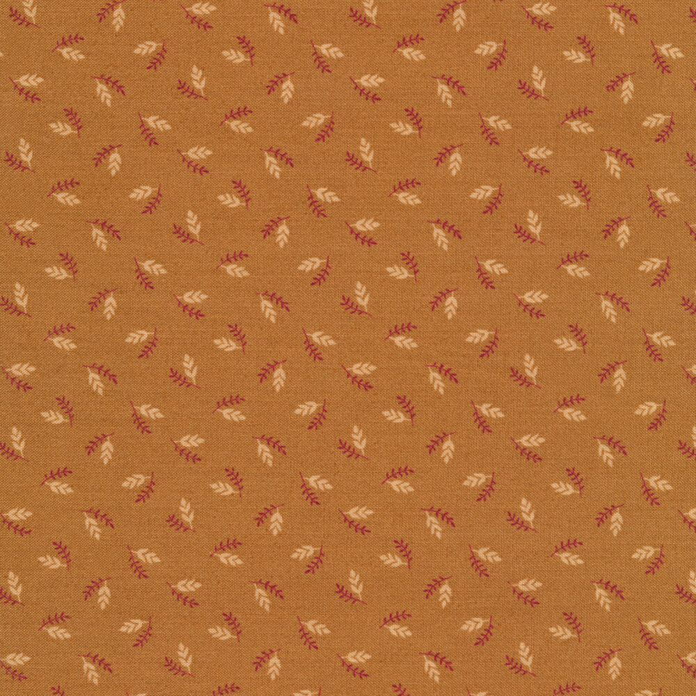 Tossed sprigs on a dark tan background | Shabby Fabrics
