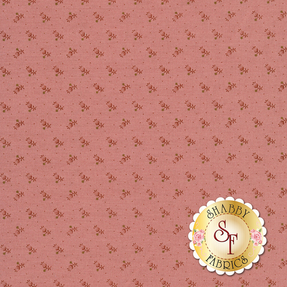 Tonal flower blossoms on a pink background | Shabby Fabrics