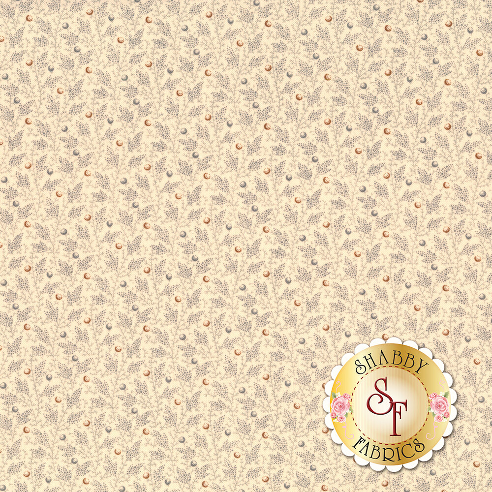 Leaves and vines with multi colored dots on a cream background | Shabby Fabrics