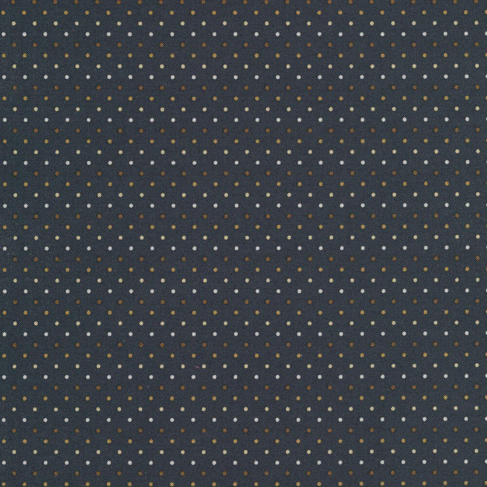 Tiny multi colored dots on a dark blue background   Shabby Fabrics