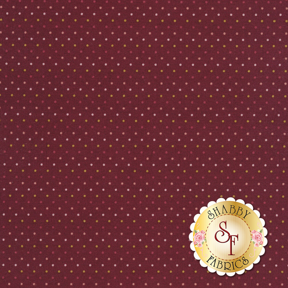 Tiny multi colored dots on a dark red background | Shabby Fabrics