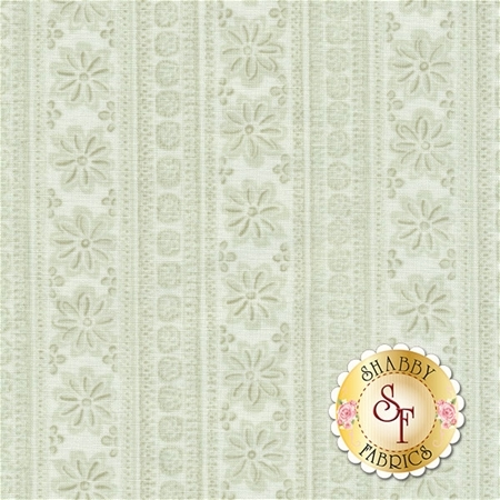Sweet Baby Rose 572-44 Soft Stripe Light Green by Dover Hill for Benartex Fabrics