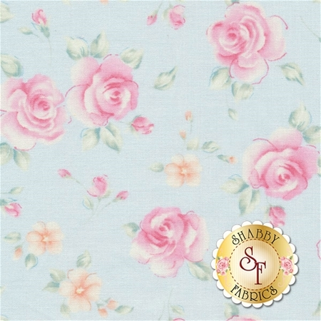Sweet Baby Rose 573-54 Rosa Posa Light Blue by Dover Hill for Benartex Fabrics