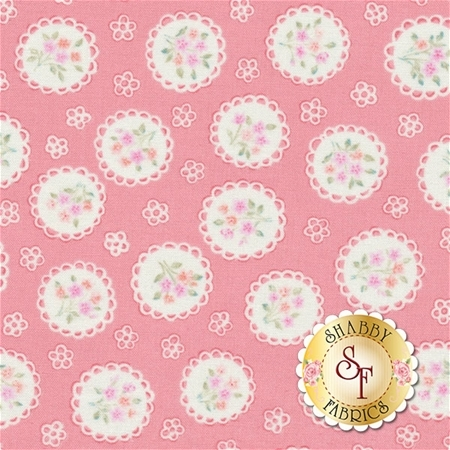 Sweet Baby Rose 576-22 Rose Doily Pink by Dover Hill for Benartex Fabrics