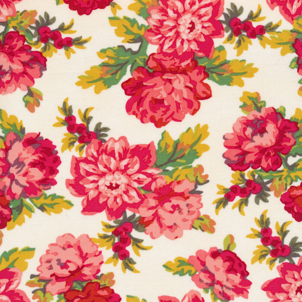 Tossed pink floral on a white background