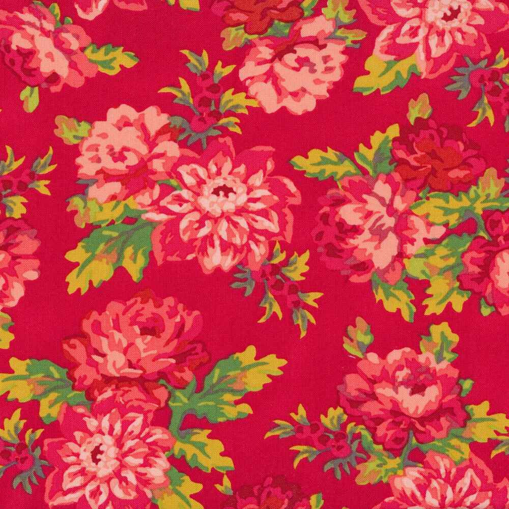 Tossed red/pink floral on a pink background