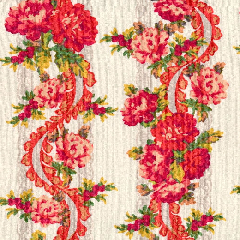 Floral ribbon border stripe on a white background
