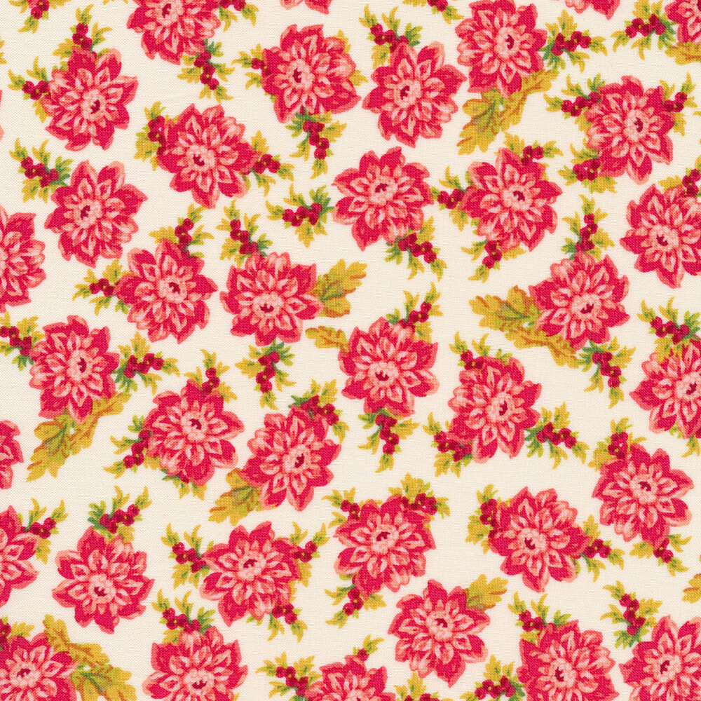 Tossed pink floral and leaves on a white background